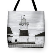 Lighthouse Point In Black And White #5 Tote Bag