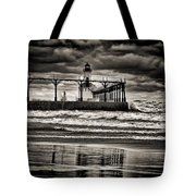 Lighthouse Reflections In Black And White Tote Bag