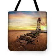 Lighthouse Sunset Wales Tote Bag