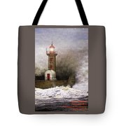 Lighthouse Weathering A Storm At Sea H A Tote Bag