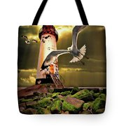Lighthouse With Seagulls Tote Bag