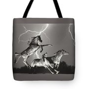 Lightning At Horse World Tote Bag
