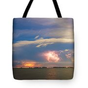 Lightning At Sunset With Star Trails Tote Bag
