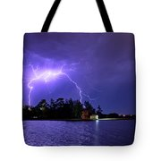 Lightning Bolt Cracks Over Lake Wendouree Tote Bag