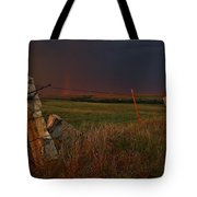 Lightning Bolt Over Post Rock Country, North Central, Kansas Tote Bag