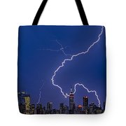 Lightning Bolts Over New York City Tote Bag
