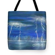 Lightning By The Lake Original Oil Painting Tote Bag