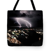 Lightning During A Thunderstorm On The Island Of Santorini, Greece Tote Bag