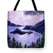 Lightning In Purple Clouds Tote Bag