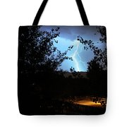 Lightning On The Distant Mountains Tote Bag