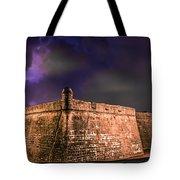 Lightning Over Castillo De San Marcos National Monument Tote Bag