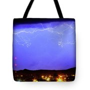 Lightning Over Loveland Colorado Foothills Panorama Tote Bag