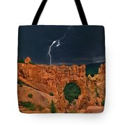 Lightning Over Natural Bridge Formation Bryce Canyon National Park Utah Tote Bag by Dave Welling