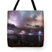 Lightning Over The Sanibel Bridge Tote Bag