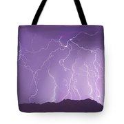 Lightning Over The Mountains Tote Bag
