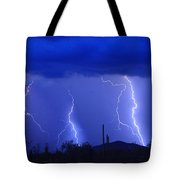 Lightning Storm In The Desert Fine Art Photography Print Tote Bag