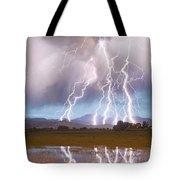 Lightning Striking Longs Peak Foothills 4 Tote Bag