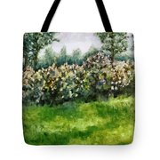 Lilac Bushes In Springtime Tote Bag