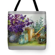 Lilacs And Ball Jars Tote Bag