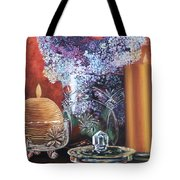 Lilacs And Candles Tote Bag