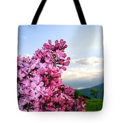 Lilacs And Green Pastures Tote Bag