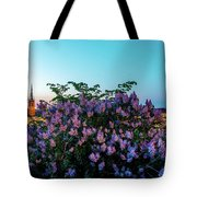 Lilacs And Sunset To Blue Hour Transition Over Gamla Stan In Stockholm Tote Bag