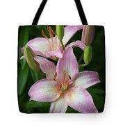 Lilies And Raindrops Tote Bag