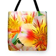 Lilies Art Prints Pink Yellow Lily Flowers 1 Giclee Prints Baslee Troutman Tote Bag