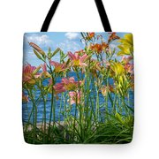 Lilies At The Waterfront Tote Bag