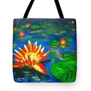 Lilies By The Pond Tote Bag