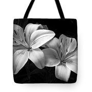 Lilies In Black And White Tote Bag