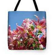 Lilies Pink Lily Flowers Art Prints Floral Summer Garden Baslee Troutman Tote Bag