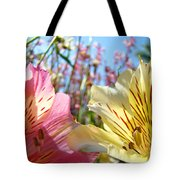 Lilies Pink Yellow Lily Flowers Canvas Art Prints Baslee Troutman Tote Bag