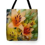 Lillies - Peach And Yellow Colors Tote Bag