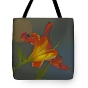 Lily Abstract Dark Background Bright Flower Tote Bag