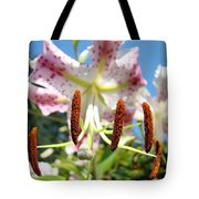 Lily Flower Close Up Macro Pink Lilies Blue Sky Baslee Tote Bag
