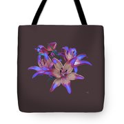 Lily Flowers Blue Maroon Tote Bag