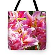 Lily Garden Floral Art Prints Pink Lilies Baslee Troutman Tote Bag