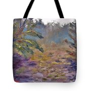 Lily Pads On A Pond, Overcast Sky 3pm Tote Bag