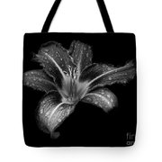 Lily Raindrops In Giverny, France, Black And White Tote Bag