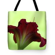 Lily Red On Green Tote Bag