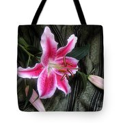 Lily Stem On Green Brocade Tote Bag