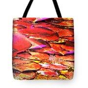 Crimson Lilypads Floating.. Tote Bag
