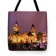 Lima Cathedral And Plaza De Armas At Night Tote Bag