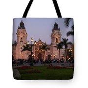 Lima Cathedral At Night Tote Bag