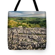 Limestone Pavement At Malham Cove At Sunset Tote Bag