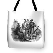 Lincoln And His Generals Black And White Tote Bag by War Is Hell Store