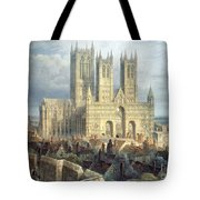 Lincoln Cathedral From The North West Tote Bag by Frederick Mackenzie