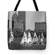 Line Of Boats On The Charles River Boston Ma Black And White Tote Bag