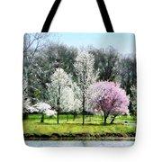Line Of Flowering Trees Tote Bag